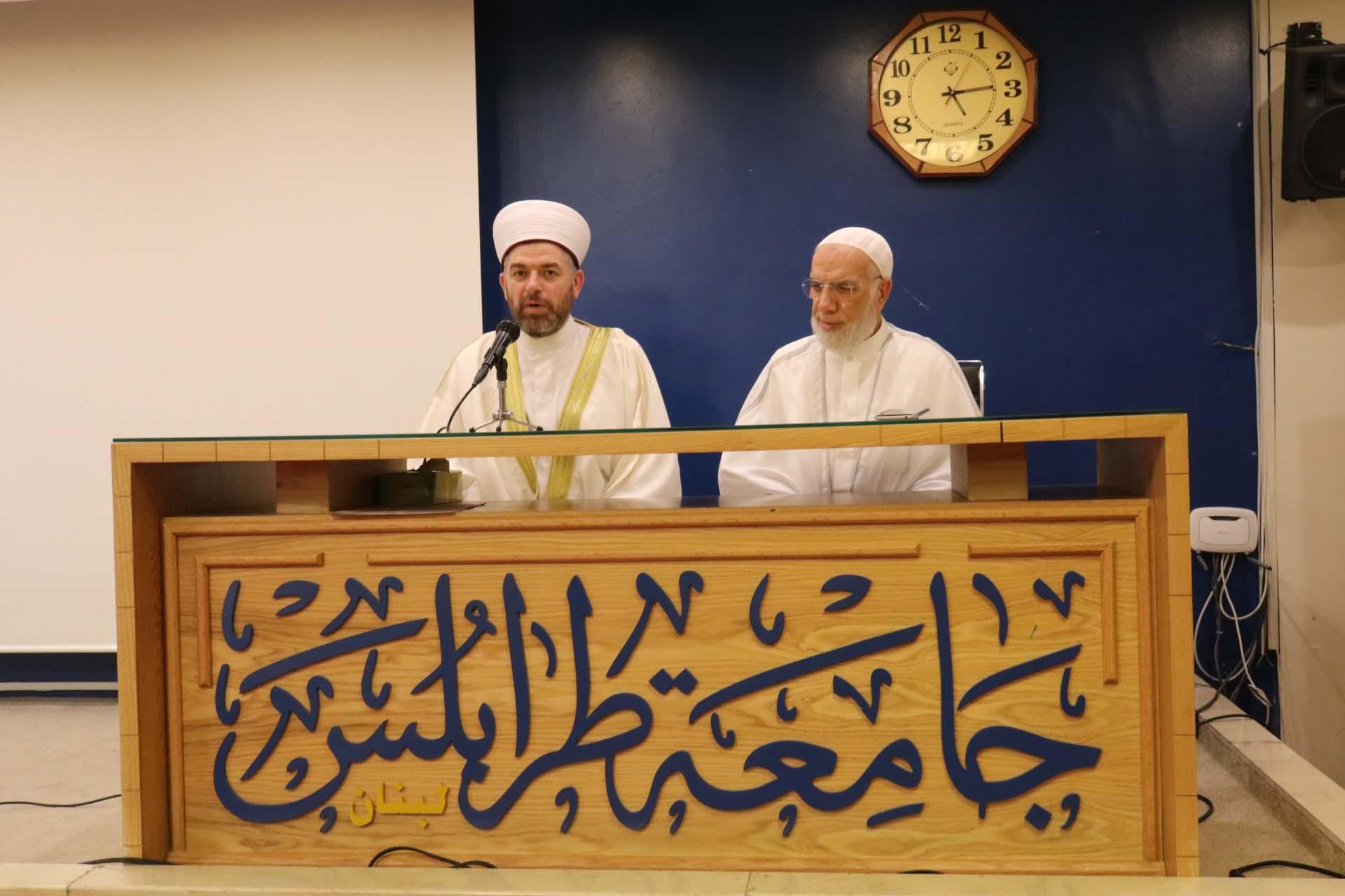 الداعية الدكتور عمر عبد الكافي محاضراً في جامعة طرابلس (2/5)
